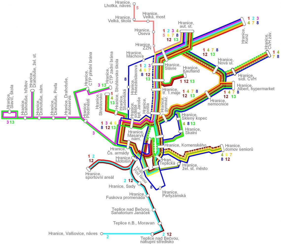 Mapa MHD v Hranicích