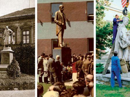 Školní náměstí / fotogalerie / Původní sochy na náměstí